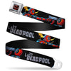 Deadpool Logo Full Color Black/Red/White Seatbelt Belt - Deadpool Corps Issue #2 LADY DEADPOOL/Deadpool Face Off Scene Black/Gray Webbing