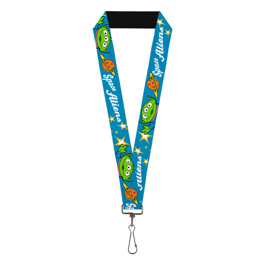 "Lanyard - 1.0"" - Toy Story Pizza Planet SPACE ALIENS Alien Pose Stars Blue Yellow White"