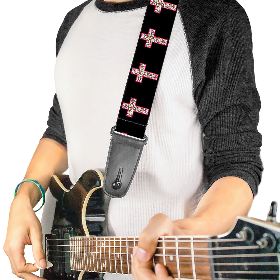 Guitar Strap - Cross Repeat Black Leopard Brown Pink Outline