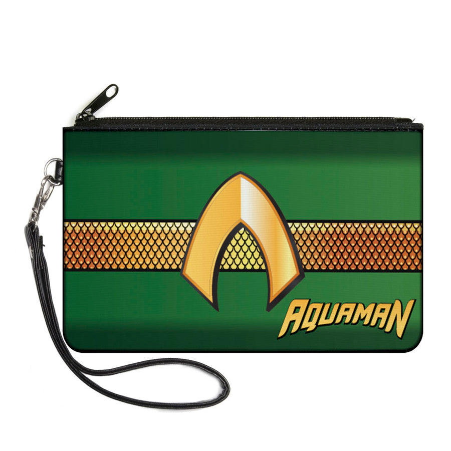 Canvas Zipper Wallet - SMALL - AQUAMAN Classic Icon Scales Stripe Green Golds