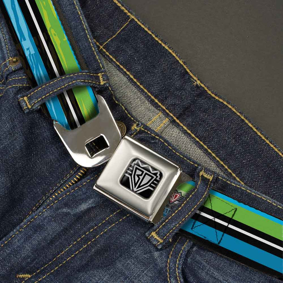 BD Wings Logo CLOSE-UP Full Color Black Silver Seatbelt Belt - Scribble Stripes Blue/Green/White Webbing