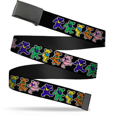 Black Buckle Web Belt - Dancing Bears Black/Multi Color Webbing