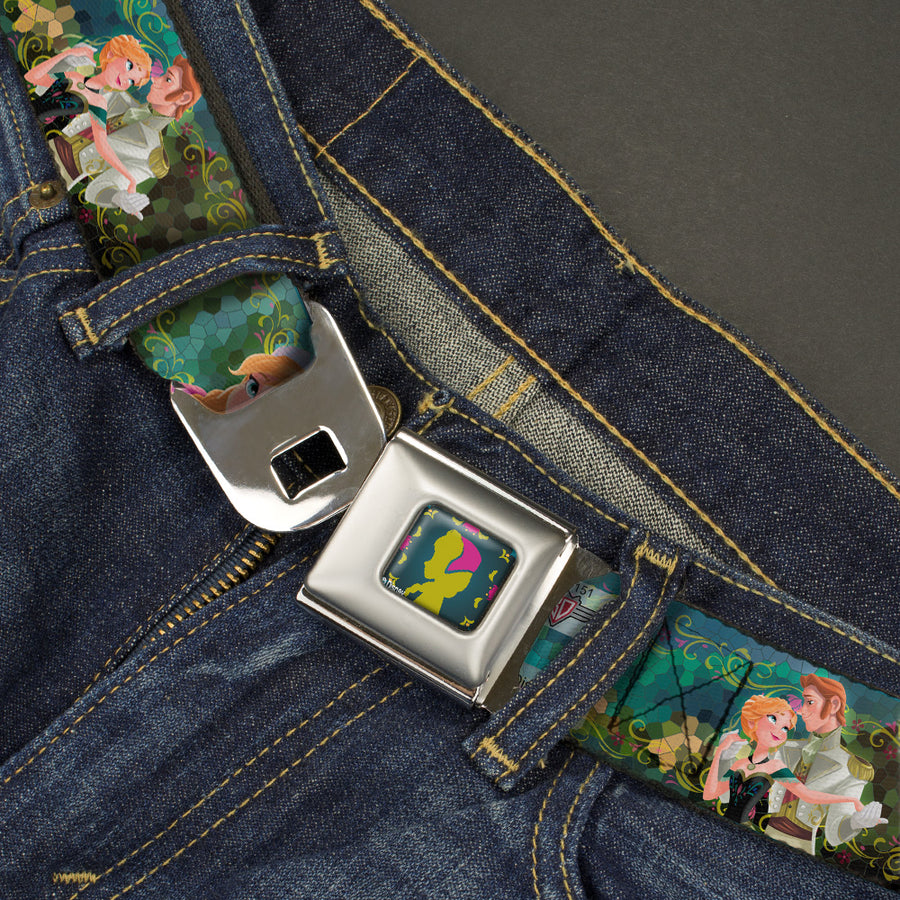 Anna Silhouette Full Color Blues Green Pink Seatbelt Belt - Anna & Hans/Anna & Kristoff Poses Webbing