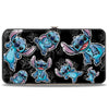 Hinged Wallet - Stitch 3-Poses Scattered Hibiscus Sketch Black Grays