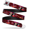 Peter Pan Skull Rock Full Color Black Burgundy Seatbelt Belt - Captain Hook Poses/Nautical Elements Burgundy Webbing