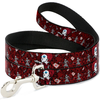 Dog Leash - Queen of Hearts Poses/Hearts/Cards Reds/Black