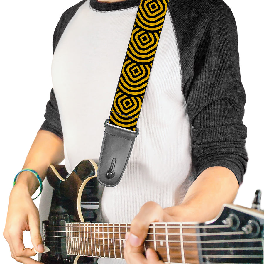 Guitar Strap - Square Target Gold Black