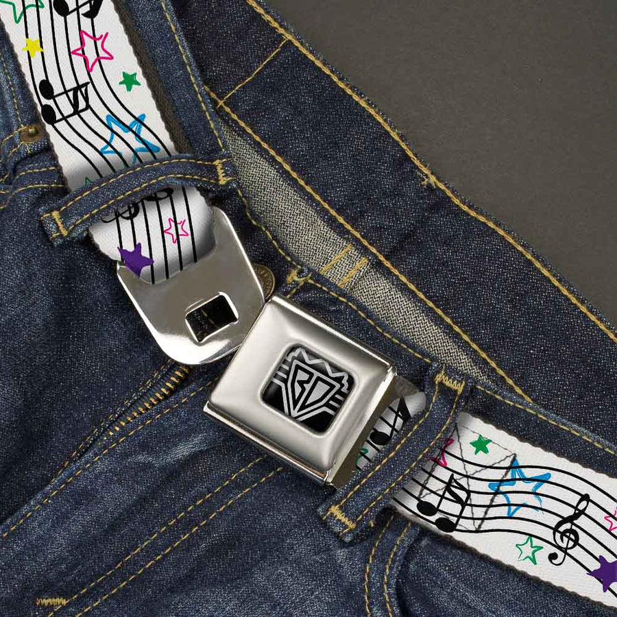BD Wings Logo CLOSE-UP Full Color Black Silver Seatbelt Belt - Music Notes Stars White/Black/Multi Color Webbing