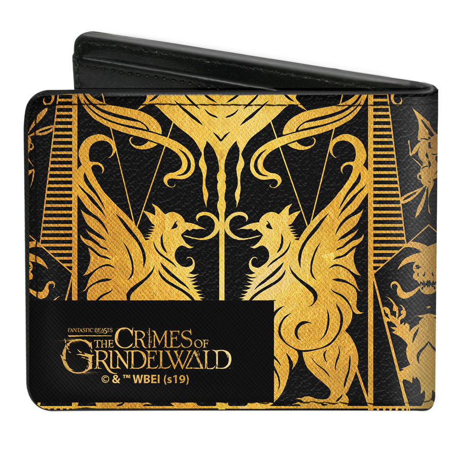 Bi-Fold Wallet - Fantastic Beasts The Crimes of Grindelwald Obscurus Book Binding CLOSE-UP Black Golds