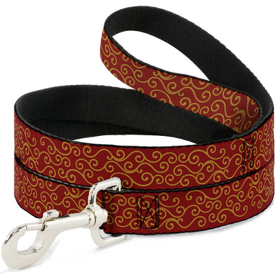 Dog Leash - Holiday Trim Swirls Red/Gold