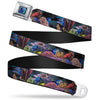 Dory Pose3 Swirls Full Color Blues Seatbelt Belt - Dory 4-Hiding Poses Under the Sea Webbing