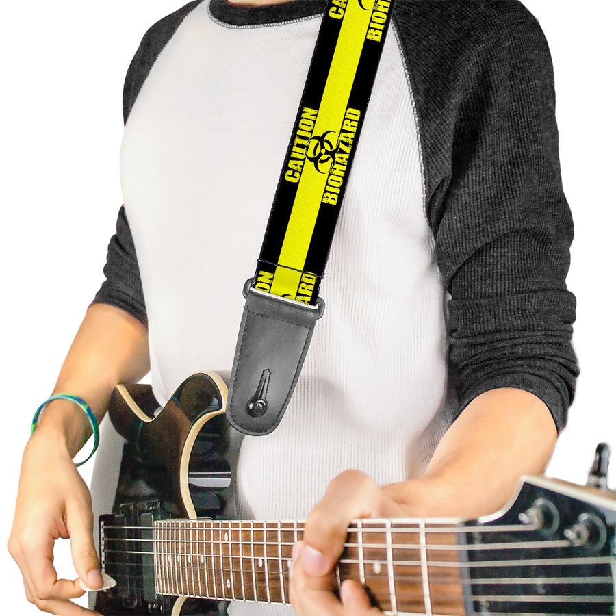 Guitar Strap - CAUTION BIOHAZARD Black Yellow