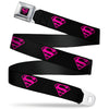 Superman Shield Full Color Black Hot Pink Seatbelt Belt - Superman Shield Black/Hot Pink Webbing