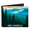 Canvas Bi-Fold Wallet - SEE AMERICA-NC GREAT SMOKY MTNS. Landscape Yellows Blues White