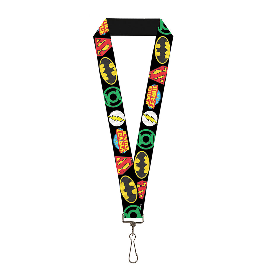 "Lanyard - 1.0"" - Justice League Superhero Logos CLOSE-UP Black"