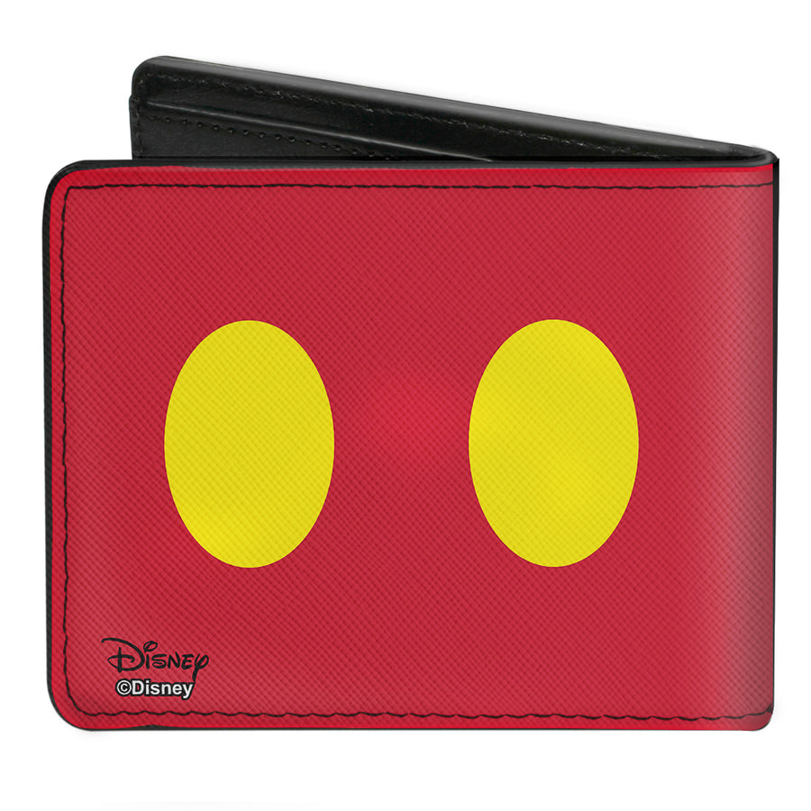 Bi-Fold Wallet - Mickey Mouse Smiling Face Black White + Buttons Red Yellow