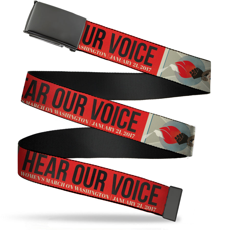 Black Buckle Web Belt - HEAR OUR VOICE-WOMEN'S MARCH 2017/Unity Fist Torch Grays/Blues/Red/Black/White Webbing