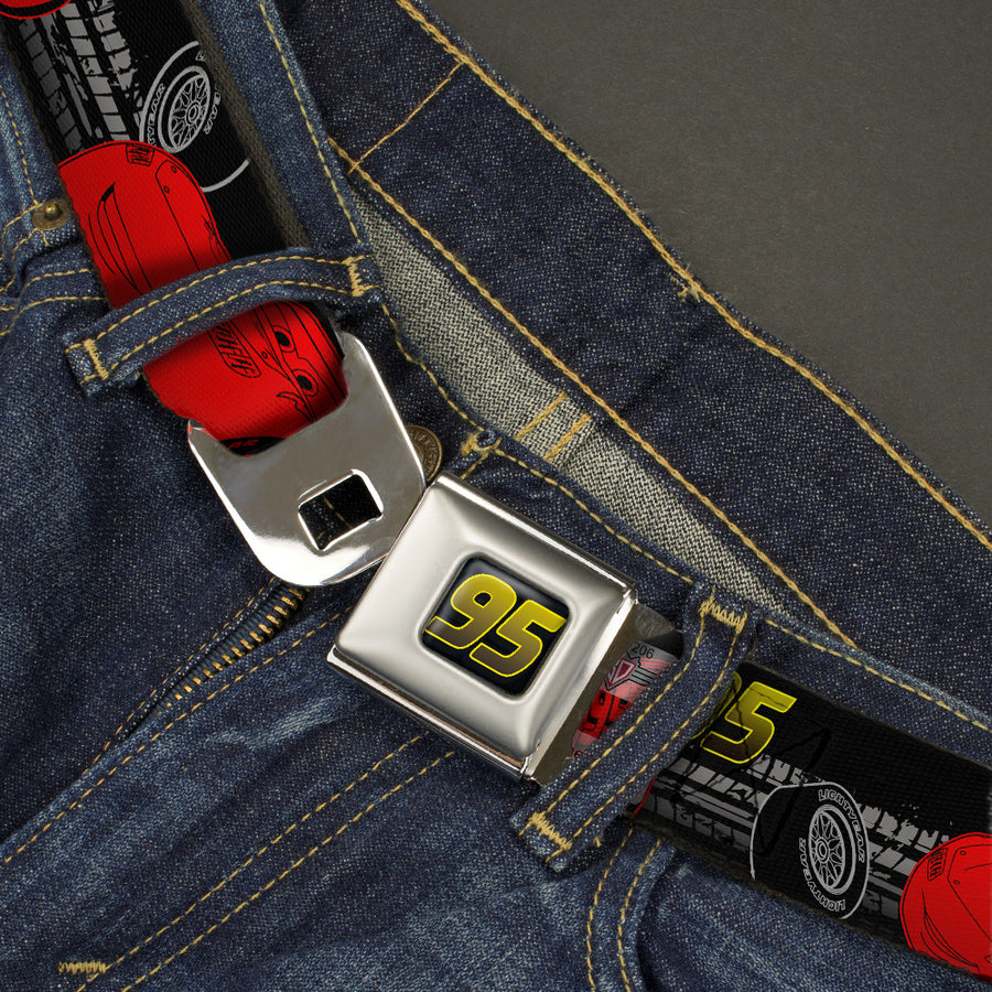 Cars 95 Full Color Black Yellow-Fade Seatbelt Belt - Lightning McQueen Poses/95/Tread Black/Gray/Yellow/Red Webbing