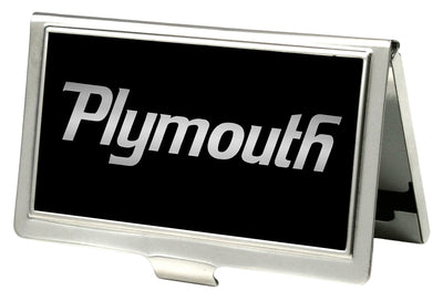 Business Card Holder - SMALL - PLYMOUTH Text Logo FCG Black Silver Fade