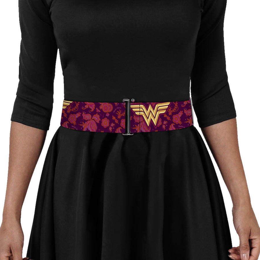 Cinch Waist Belt - Wonder Woman Logo Floral Collage Purple Pinks Gold