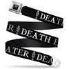 Harry Potter Logo Full Color Black/White Seatbelt Belt - DEATH EATER/Dark Mark Black/White Webbing