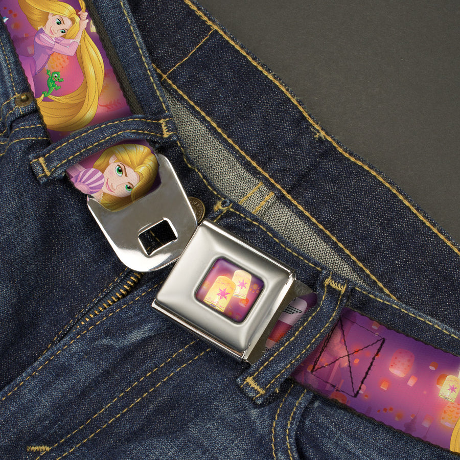 Tangled Lights Full Color Light Purple Gold Seatbelt Belt - Rapunzel 4-Tangled Poses/Pascal/Lights Light Purples Webbing