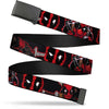 Black Buckle Web Belt - Deadpool 2-Action Poses/Splatter Logo Black/Red/White Webbing