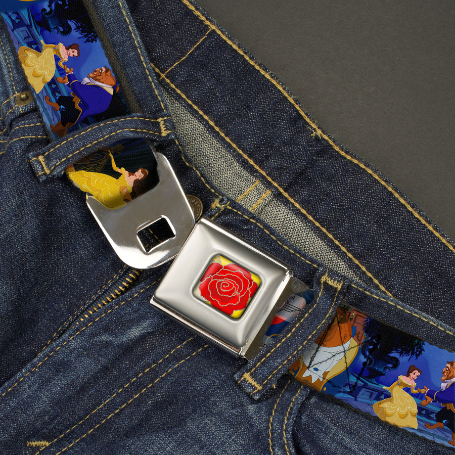 Beauty & the Beast Rose CLOSE-UP Full Color Yellow Red Seatbelt Belt - Belle & Beast Ballroom Dancing Scene Webbing