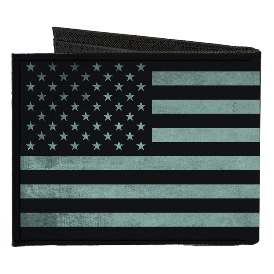 Canvas Bi-Fold Wallet - Americana Stars & Stripes Weathered Black Gray