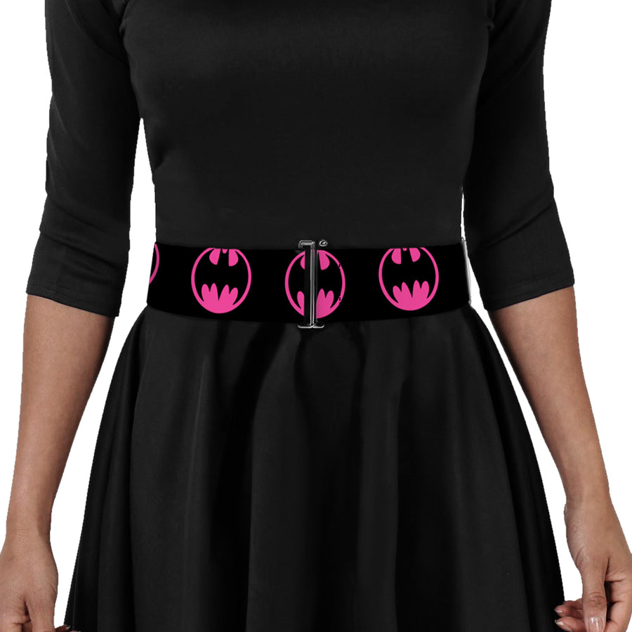 Cinch Waist Belt - Bat Signal-4 Black Fuchsia