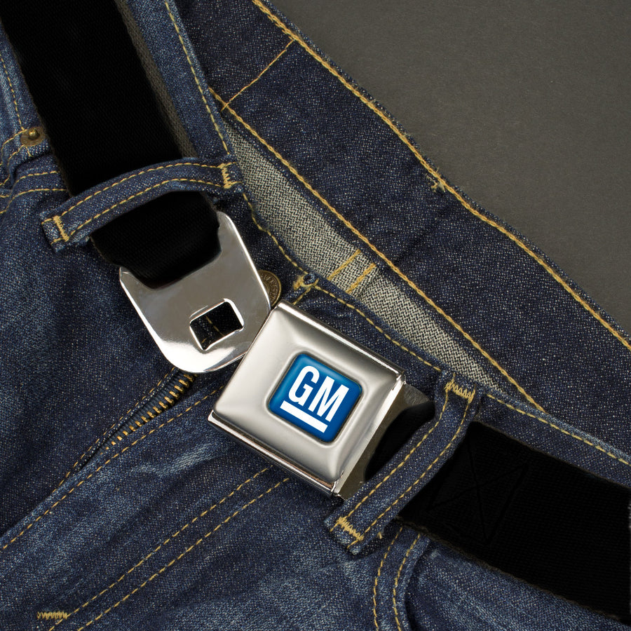 GM Logo Full Color Blue/White Seatbelt Belt - Black Webbing