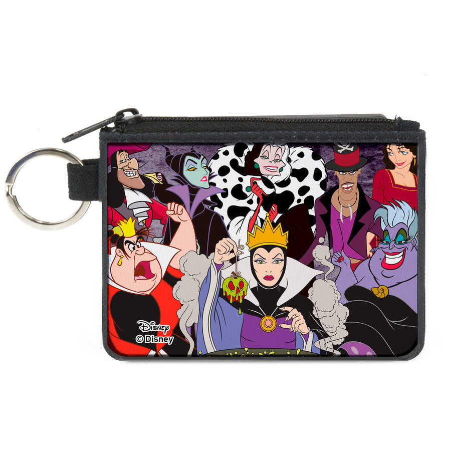 Canvas Zipper Wallet - MINI X-SMALL - Disney 8-Villains Group Pose Purple Fade