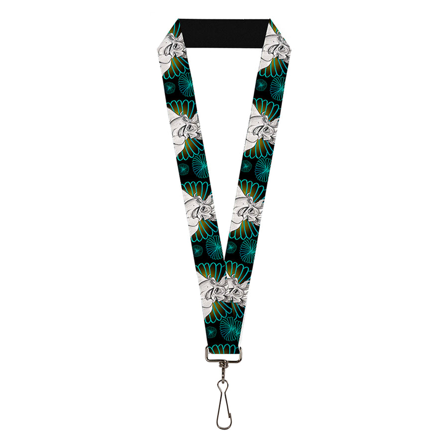 "Lanyard - 1.0"" - The Little Mermaid Ursula Smiling Sketch Pose CLOSE-UP Black Blues Grays"