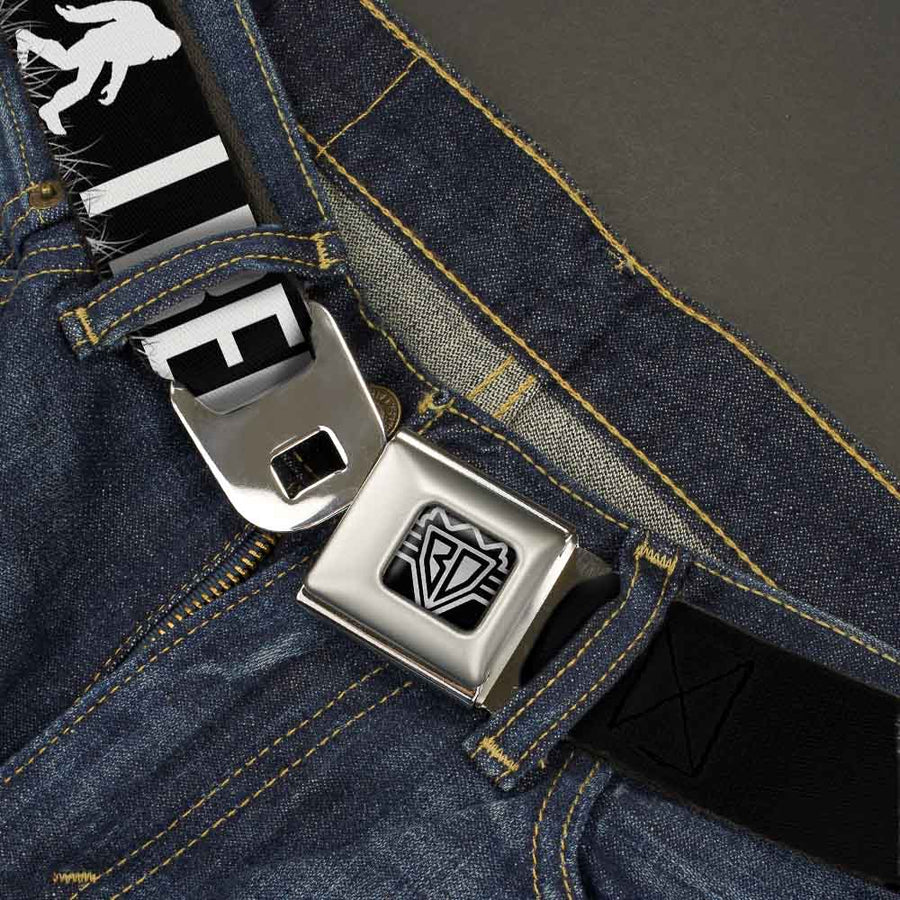 BD Wings Logo CLOSE-UP Full Color Black Silver Seatbelt Belt - Bigfoot Silhouette I BELIEVE Black/Gray/White Webbing