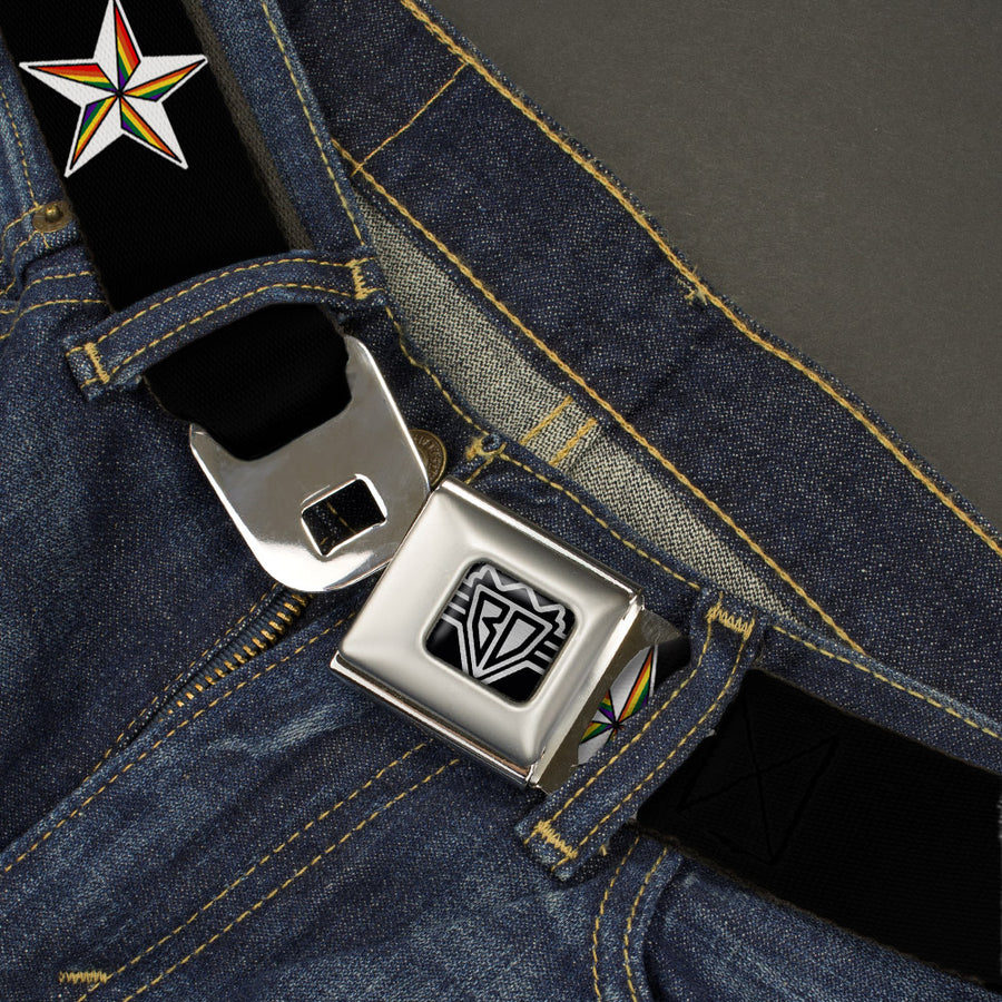 BD Wings Logo CLOSE-UP Full Color Black Silver Seatbelt Belt - Nautical Star Black/White/Rainbow Webbing