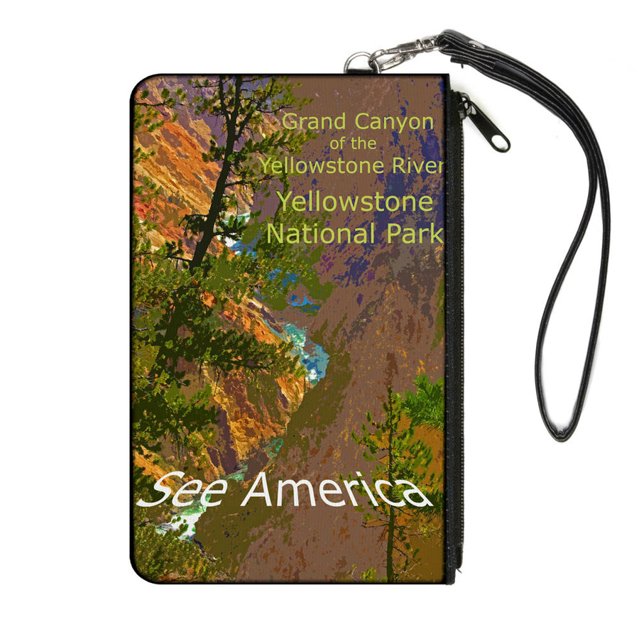 Canvas Zipper Wallet - LARGE - SEE AMERICA-YELLOWSTONE RIVER Yellowstone National Park River Canyon Browns Greens