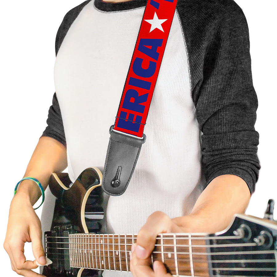 Guitar Strap - MERICA Star Red Blue White