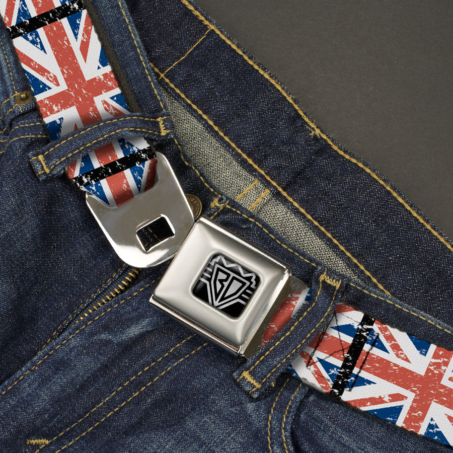 BD Wings Logo CLOSE-UP Full Color Black Silver Seatbelt Belt - United Kingdom Flags Weathered Webbing