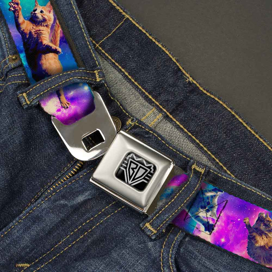BD Wings Logo CLOSE-UP Full Color Black Silver Seatbelt Belt - Cats in Space Pinks/Blues Webbing