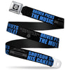 Winchester Logo Full Color Black White Seatbelt Belt - SUPERNATURAL DRIVER PICKS THE MUSIC-SHOTGUN SHUTS HIS CAKEHOLE! Black/Gray/Blue Webbing