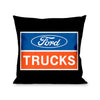 Pillow - THROW - FORD TRUCKS Logo2 Black White Blue Red