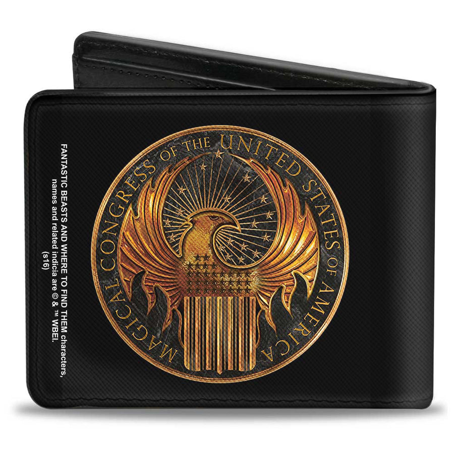 Bi-Fold Wallet - Fantastic Beasts and Where to Find Them MACUSA Seal Black Golds
