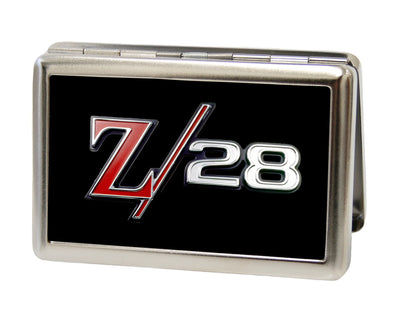 Business Card Holder - LARGE - 1969 Camaro Z 28 Emblem FCG Black Silvers Red