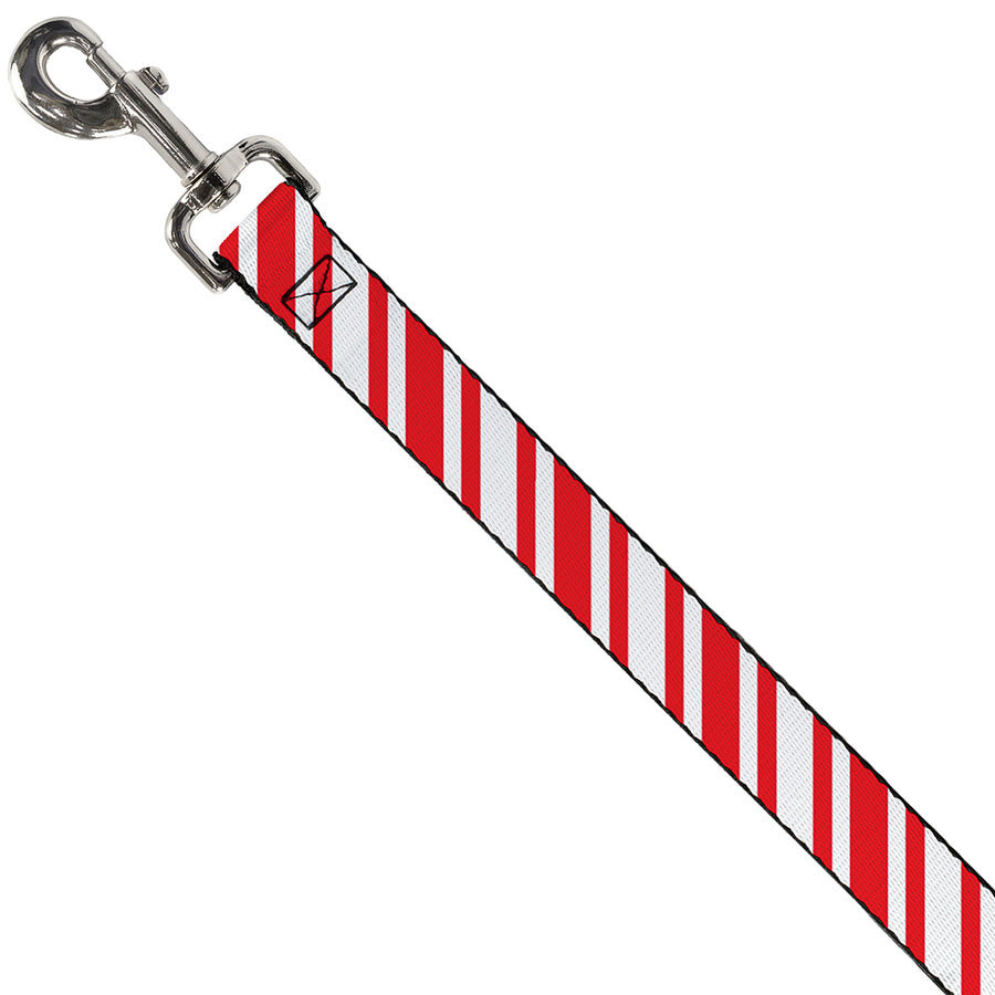 Dog Leash - Candy Cane3 Stripe White/3-Red