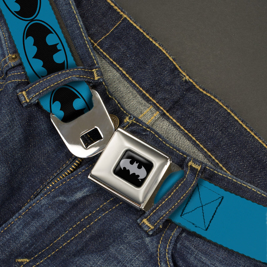 Batman Black Silver Seatbelt Belt - Bat Signal-3 Blue/Black/Blue Webbing