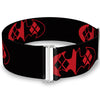 Cinch Waist Belt - Bat Logo Harley Quinn Diamonds Black Red