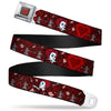 Queen's Heart Full Color Reds Gold Seatbelt Belt - Queen of Hearts Poses/Hearts/Cards Reds/Black Webbing