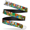 WE Wilderness Explorers Badge Full Color Black Seatbelt Belt - Stacked Wilderness Explorers Badges Webbing