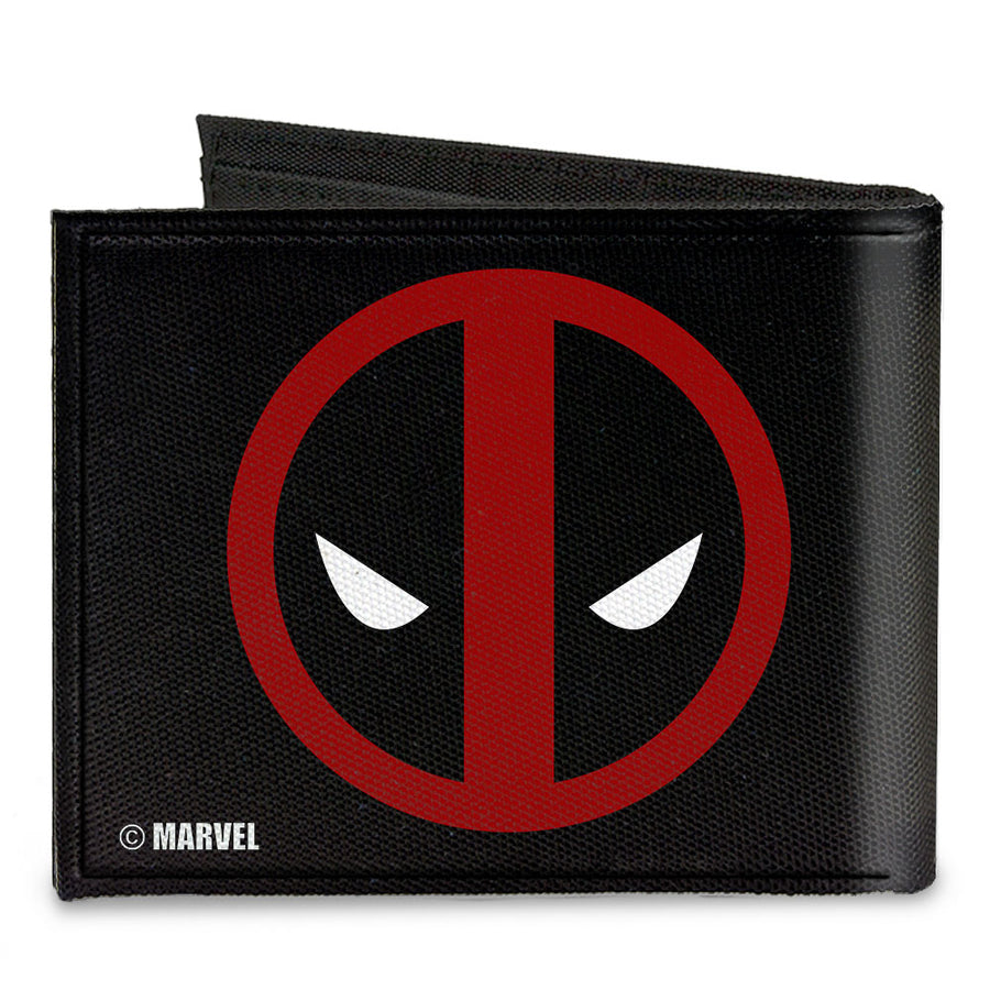 MARVEL DEADPOOL Canvas Bi-Fold Wallet - Deadpool Logo Black Red White