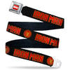 MARVEL Logo Full Color Red/White Seatbelt Belt - Iron Man Face Icon/I AM IRON MAN Black/Reds/Golds Webbing